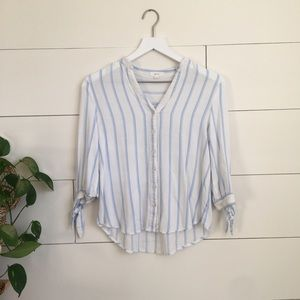 Blouse button down shirt long sleeved striped